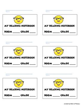 Reader's Notebook labels- emoji theme