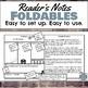 Reader's Notes Foldable sheets for annotating any novel, grades 6-12