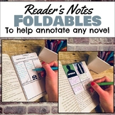 Reader's Notes Foldable sheets for annotating any novel, g