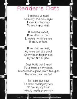 Reader's Oath Poem Poster, Chalkboard Classroom theme, Readers' Workshop