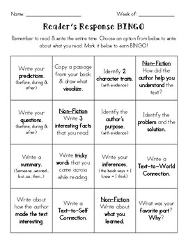 Reader's Response BINGO-Spanish & English