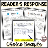 Reader's Response Choice Boards for Fiction & Nonfiction + Response Sheet