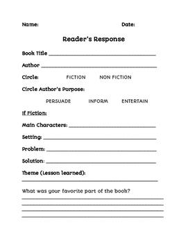 Reader's Response Entry