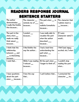 Reader's Response Journal Sentence Starters
