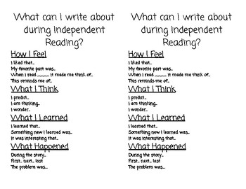 Reader's Response Journal Writing Prompts
