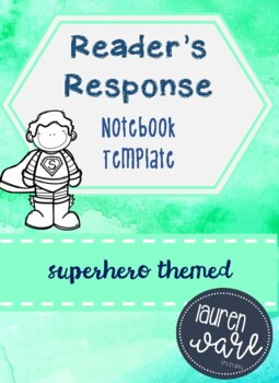 Reader's Response Notebook Superhero Themed