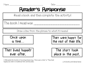 First Grade TEKS Reader's Response Pages for Any Book