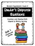 Reader's Response Questions for Wonders Unit 1 Grade 3