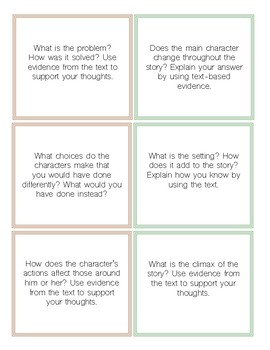 Reader's Response Task Cards