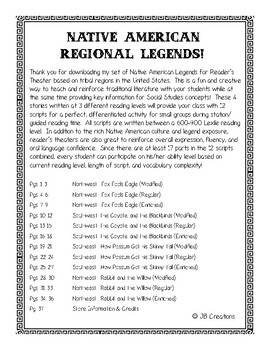 Reader's Theater:  4 Native American Legends by Region (intermediate)