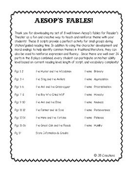 Reader's Theater: Aesop's Fables and teaching THEME (intermediate)