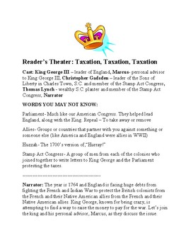Reader's Theater: British Taxation - Stamp Act emphasis