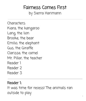 Reader's Theater-Character Counts:Fairness First by Sierra Harimann