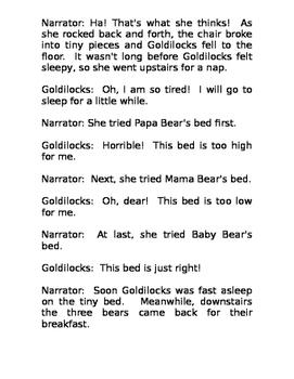 Reader's Theater Goldilocks and the Three Bears