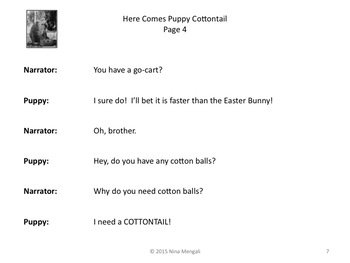 Reader's Theater Here Comes Puppy Cottontail - A VERY Wacky Easter Story!