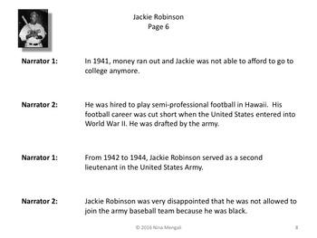 Reader's Theater Jackie Robinson 1st Black Major League Baseball Player