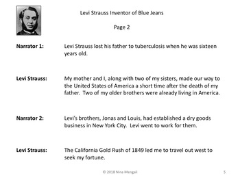 Reader's Theater Levi Strauss Inventor of Blue Jeans - Great Non-Fiction!