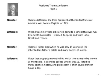 Reader's Theater PRESIDENT THOMAS JEFFERSON 3rd US President Great Non-Fiction!