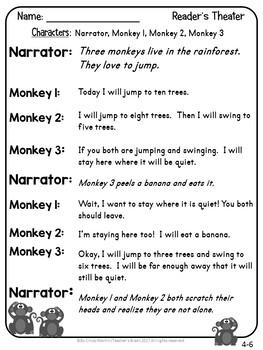 Reader's Theater Scripts for Beginning Readers  Kindergarten