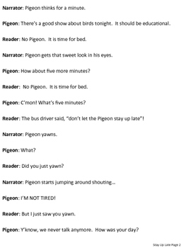 Reader's Theater Script: Don't Let the Pigeon Stay Up Late
