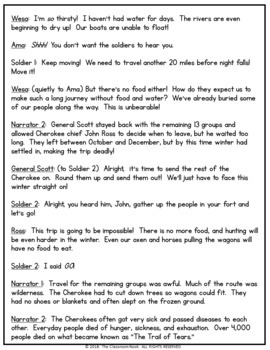 Reader's Theater Script:  Trail of Tears (Native Americans & Westward Expansion)
