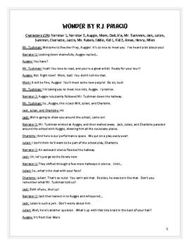 Reader's Theater Script based on Wonder by R.J. Palacio