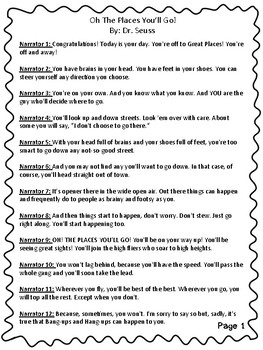 """Reader's Theater Script for """"Oh the Places You will Go"""" by Dr. Seuss"""