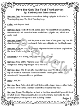"""Reader's Theater Script for """"Pete the Cat: The First Thanksgiving"""" by James Dean"""
