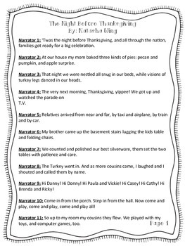 """Reader's Theater Script for """"The Night Before Thanksgiving"""" by Natasha Wing"""