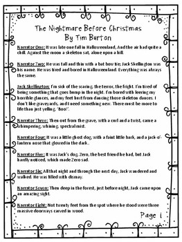 """Reader's Theater Script for """"The Nightmare before Christmas"""""""