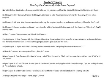 Reader's Theater: The Day the Crayons Quit