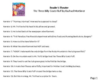 Reader's Theater: The Three Billy Goat's Fluff.