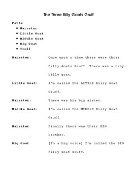 Reader's Theater: Three Billy Goats Gruff  Script and Props