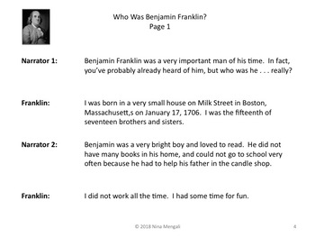 Reader's Theater WHO WAS BENJAMIN FRANKLIN? - Great Nonfiction!