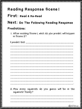 Reader's Theater Script, Winter and Squirrels 1st Scene FREE, Reading Activity