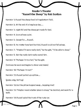 """Reader's Theater for """"Russell the Sheep"""" by Rob Scotton"""