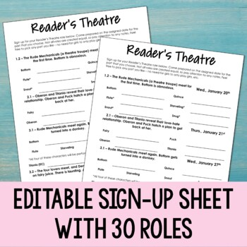 Reader's Theatre Activity for A Midsummer Night's Dream and other plays