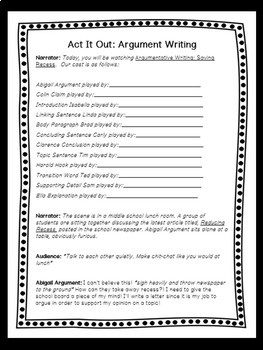 Reader's Theater: Writing Arguments: Save Recess! No Prep! *Script*