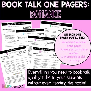 Reader's Workshop Book Talk One-Pagers: Romance Novels!