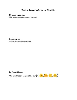 Reader's Workshop Checklist