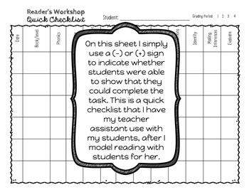 Reader's Workshop Conferring Notes & Response Journal Questions Upper Elementary