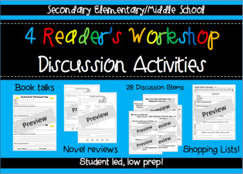 Reader's Workshop Discussion Activities - Secondary elementary/middle school