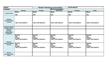 Reader's Workshop Lesson Plan Template