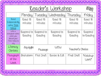 Reader's Workshop Literacy Centers Weekly Organizer!