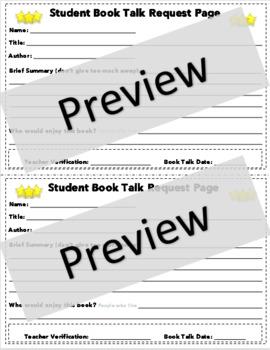 Reader's Workshop Student Book Talk Request/Application