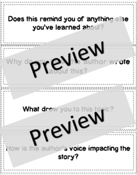 Reader's Workshop Student Discussion Cards