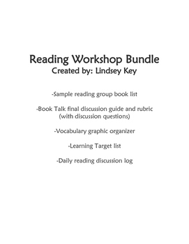 Reading Workshop Teaching Materials Bundle