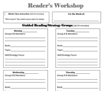 Reader's, Writer's & Math Workshop Weekly Lesson Plan Templates