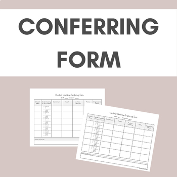 Reader's & Writer's Workshop Conferencing Data Collection Note Sheet