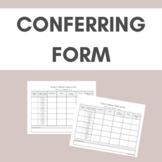 Reader's & Writer's Workshop Conferencing Data Collection- Form